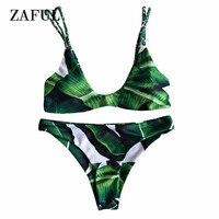 2017 Alluring Palm Tree Bikini Set Braided Cami Set Two Piece Swimwear Women Push Up Swimsuit