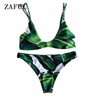 2017 Alluring Palm Tree Bikini Set Braided Cami Set Two Piece Swimwear Women Push Up Swimsuit