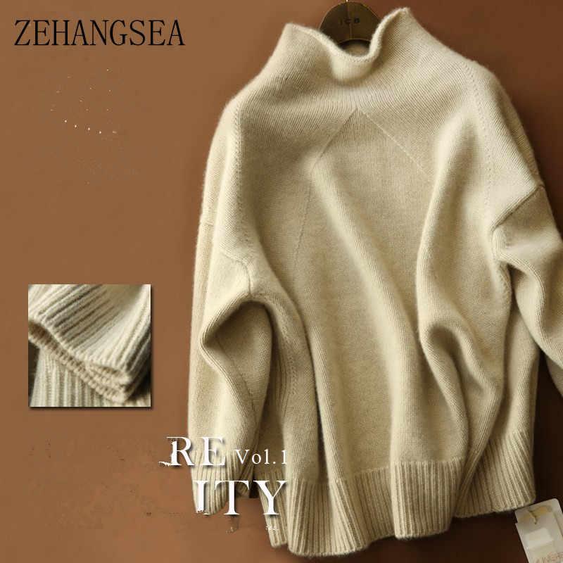 Zehangsea-가을 새로운 캐시미어 스웨터 여성 느슨한 두꺼운 스웨터 유럽과 미국의 간단한 여성의 컬링 칼라 스웨터