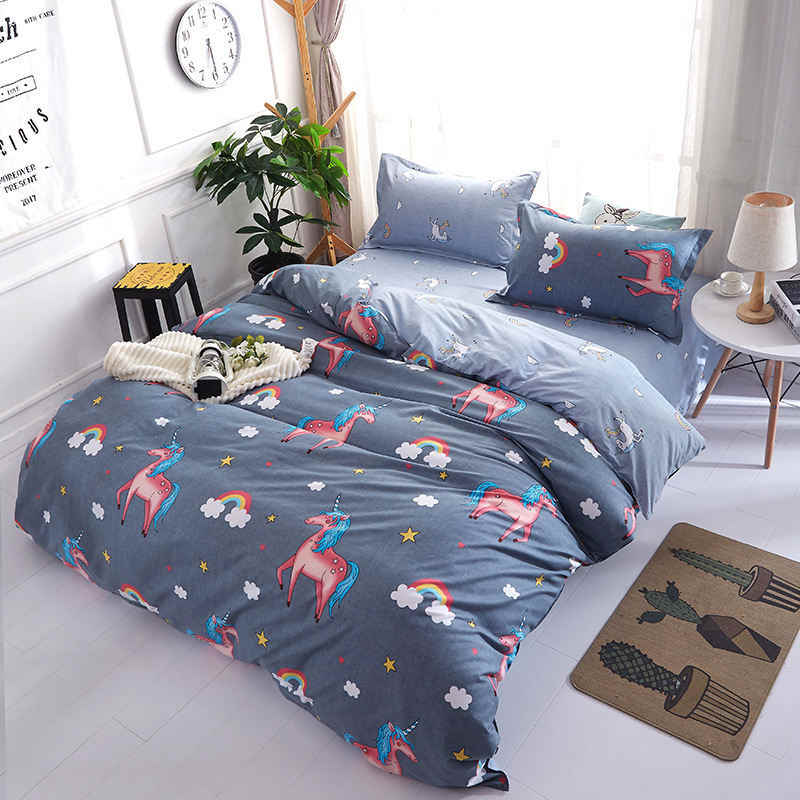 Unicorn 4pcs Girl Boy Kid Bed Cover Set Duvet Cover Adult Child Bed Sheets And Pillowcases Comforter Bedding Set 2TJ-61015