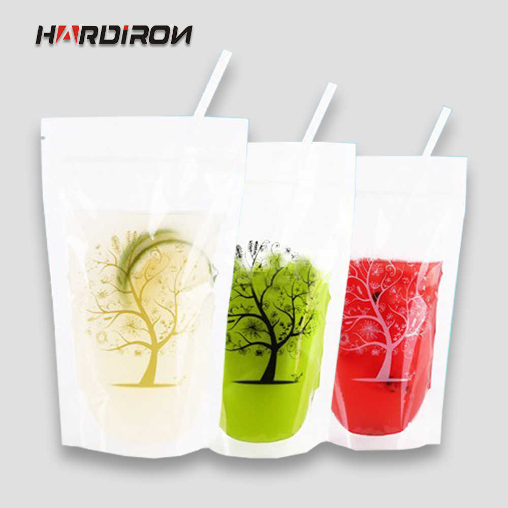 200pcs Transparent Clear Color Standing Beverage Bags Thick Self-seal Drinks Pack Drink Pouches Plastic Drink Bag with Straw