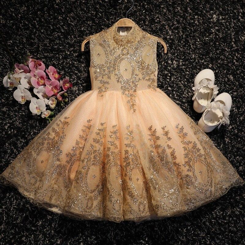 Sequin Baby Dress Sleeveless Gold Tulle Baptism Dresses Newborn Girl 1 Year Birthday Wear Toddler Infant