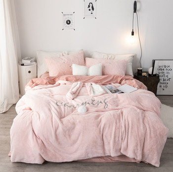 Pink White Gray Princess Fleece Fabric Winter Thick Bedding sets soft Crystal Velvet Duvet Cover Bed sheet/Linen Pillowcases