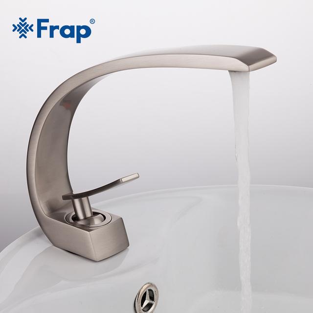 Frap – 7″ Curved Faucet Black, Brush Nickel