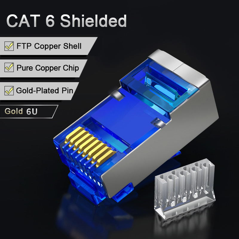 SAMZHE Cat6 RJ45 Connector 8P8C Modular Lan Cable Head Plug 50Pcs/30Pcs/100Psc Cat 6 Crimp Network RJ 45 Connector for Ethernet imc hot 10 pcs rj45 8p8c double ports female plug telephone connector