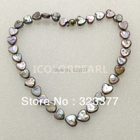 WEICOLOR Lovely 10MM Heart Shaped Dark Grey Natural Freshwater Pearl Necklace Jewelry. Best Gift For Girls!