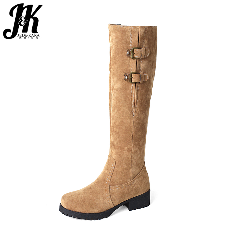 JK 2018 Thick Fur Inside Women Boots Winter Keep Warm Knee High Boots Zipper Female Square Heels Shoes Woman Plush Boots 33-44 velvet thick keep warm winter hat for women rabbit fur knitted beanies ladies female fashion skullies elegant hats for women