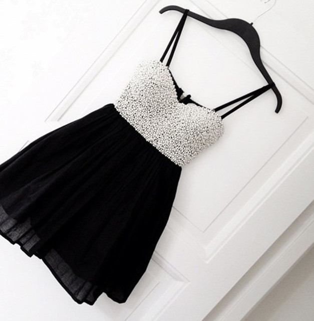 Fashion Black Rhinestone Short Cocktail Dresses 2016 Sexy Backless With Spaghetti Strap Summer Prom Gowns Cheap Short Party Gown