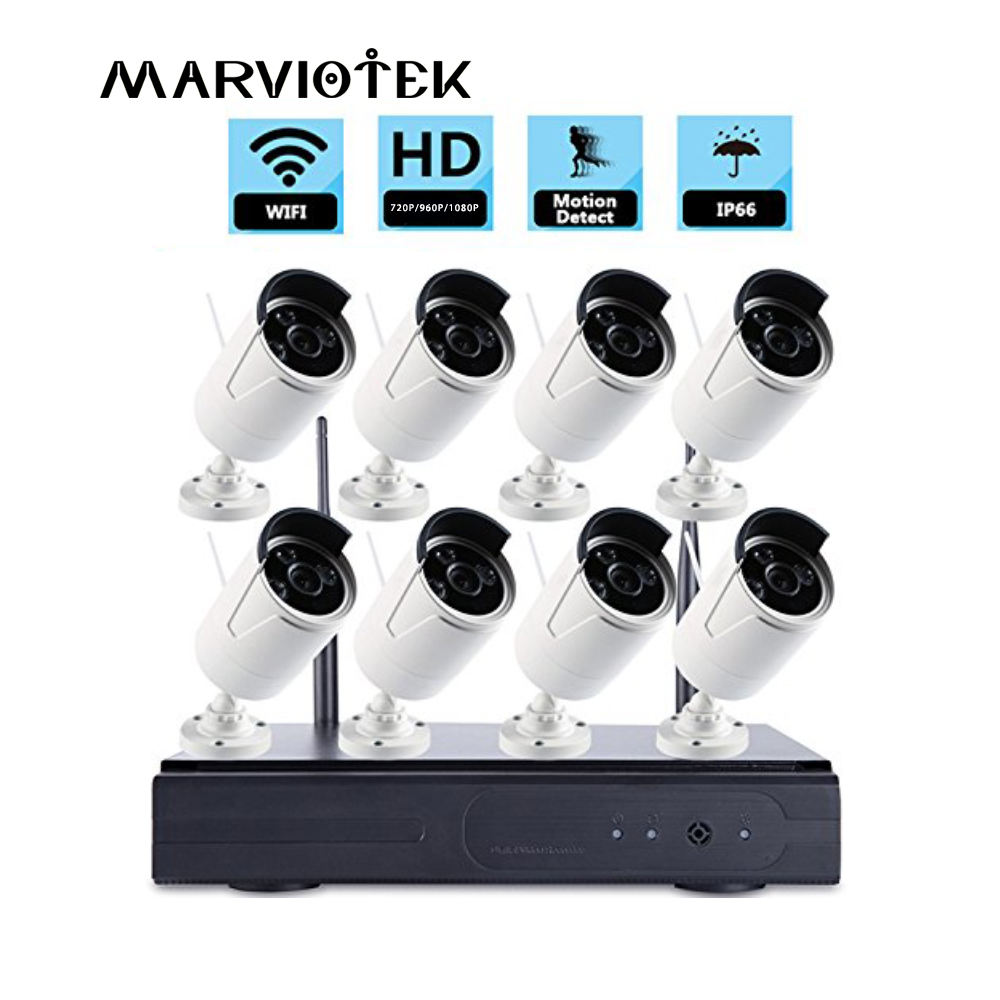 720P Full HD NVR Kit CCTV System 8CH Outdoor IP Camera Wireless Waterproof P2P Onvif Video Security Camera Surveillance System free shipping 700tvl 8ch hd ir cctv security camera system security outdoor waterproof camera security surveillance system kit