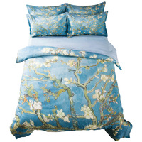 Van Gogh Oil Painting Floral Bedding Set Twin Queen King Size Bed Linens Duvet Cover Branches of an Almond Tree in Blossom