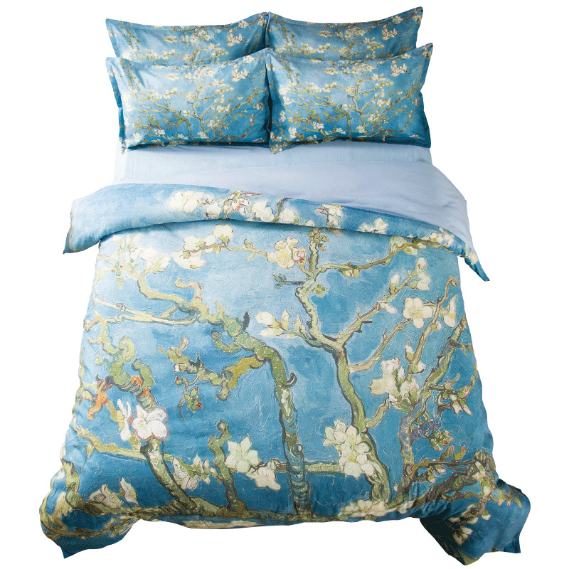 Van Gogh Oil Painting Floral Bedding Set Twin Queen King Size Bed Linens Duvet Cover Branches of an Almond Tree in Blossom image