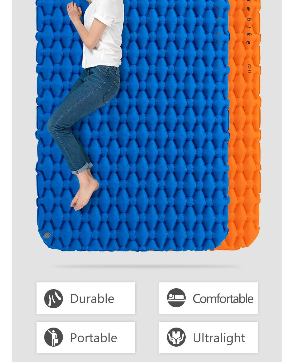 Naturehike Ultra-Léger 2 Personne Camping coussin de couchage Matelas Allongé matelas gonflable Portable Avec Air Sac Camping Tapis - 2