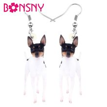 Bonsny Acrylic Fox Toy Terrier Earrings Big Long Dangle Drop Stud Cute Animal Jewelry For Women Girl Ladies lovers Decoration(China)