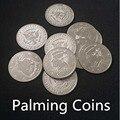 Palming Monedas (Medio Dólar Versión) de Metales, super delgada, 10 unids, truco de magia, truco, accesorios, mentalismo. juguetes clásicos