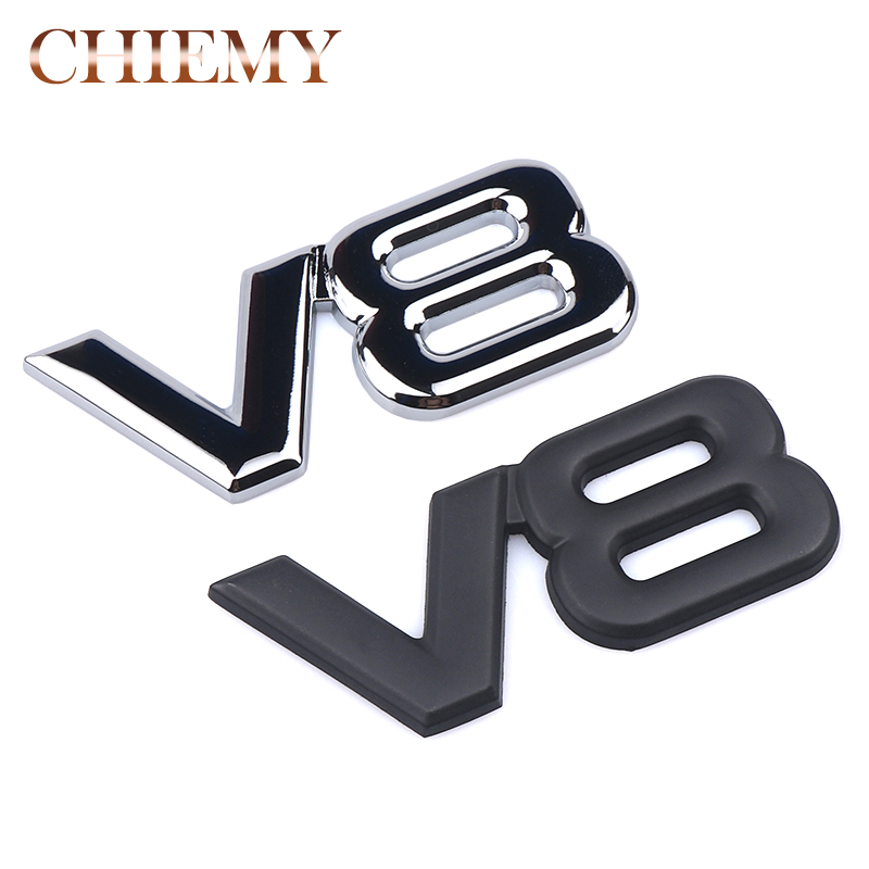 Auto Metal Alloy 3d V8 Logo Engine Displacement Trunk Rear Car Badge