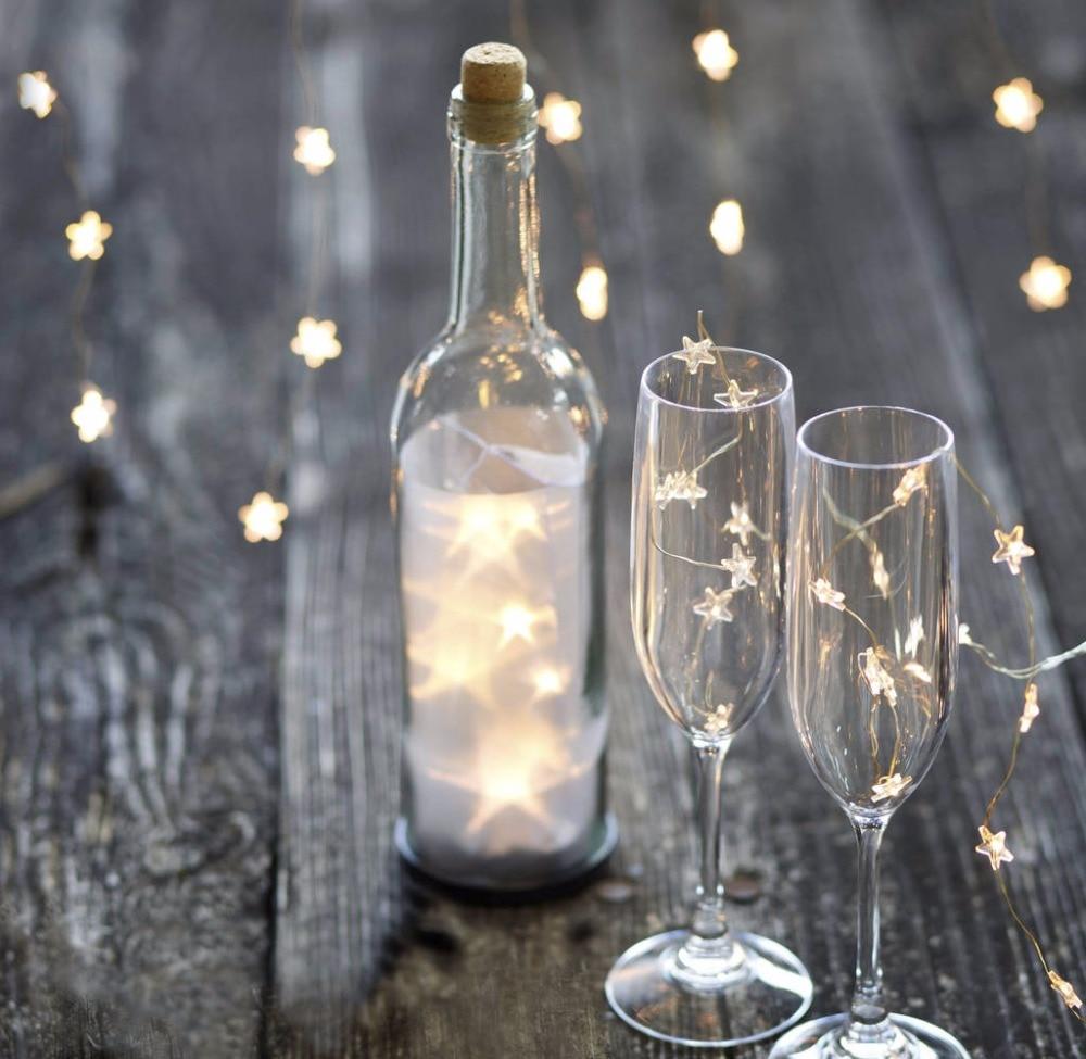 LED 30 звезды сказочных огней Батарея воздействовала на 10FT длинные серебряные Цвет Медный провод огни строки для наружного indoor для рождественской вечеринки используйте