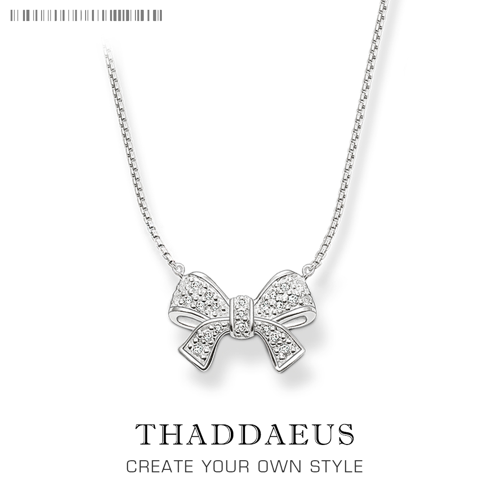 Necklace Bow Knot,2018 Brand New Ts Zirconia 925 Sterling Silver Link Chain Fashion Jewelry Thomas Bijoux Gift For Women Friend