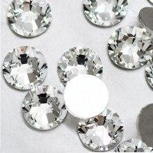 Super deal Shiny 1440PCS SS2 to ss10 non hotfix rhinestone Clear Crystal color 3D Nail Art Decorations Flatback Rhinestones