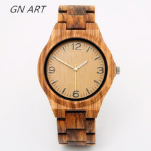hot deal buy gnart01 wood watches man creative sport bracelet analog nature bamboo watch brand watch male watches brand quartz movement 2035
