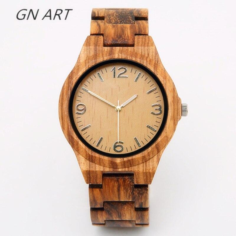 GNART01 Wood Watches Man Wrist Watch Large Dial Wood Watch Brand Male  Brand Relogio Masculino