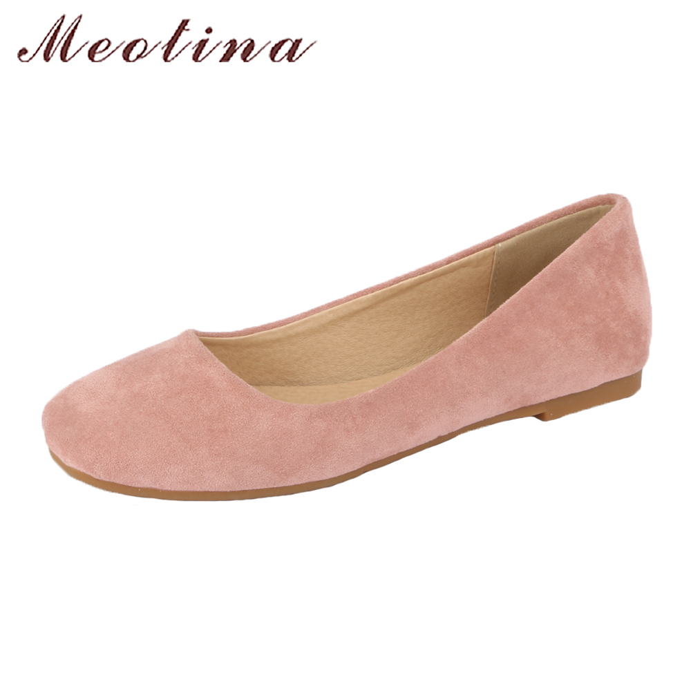Meotina Women Ballet Shoes Flats Slip On Casual Shoes Spring 2018 Square Toe Boat Shoes Ladies Flats Yellow Plus Size 42 43 Pink odetina 2017 new women pointed metal toe loafers women ballerina flats black ladies slip on flats plus size spring casual shoes