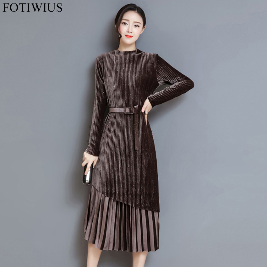 3XL Plus Size Women Long Sleeve Vintage Black Velvet Dress Autumn Winter  Pleated Dress Ladies Elegant Midi-Calf Dresses Vestidos