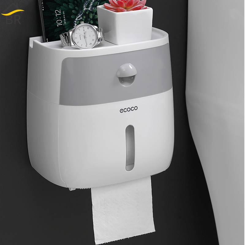 BR Bathroom Waterproof Tissue Box Plastic Toilet Paper Holder Wall Mounted Storage Box Double Layer Napkin