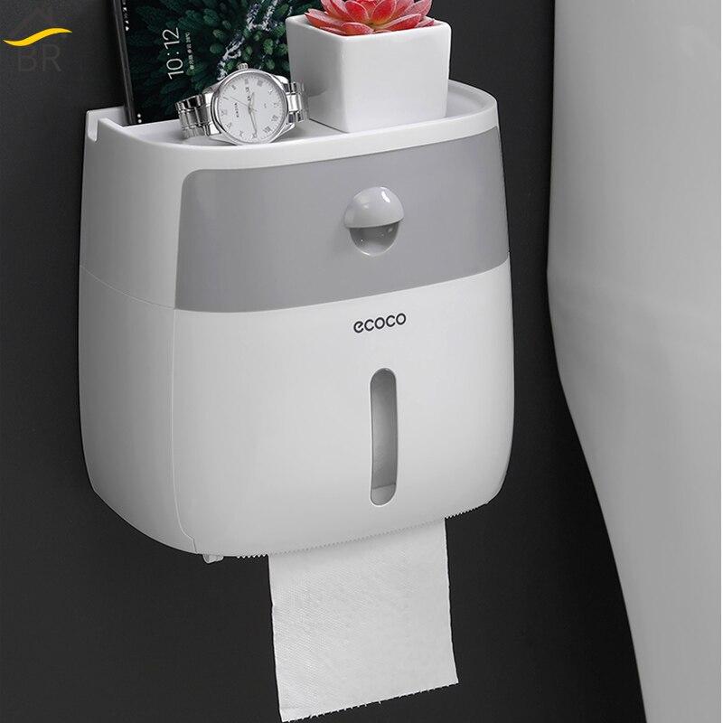 BR Montado Na Parede Do Banheiro Suporte Do Papel Higiénico Tecido Caixa de Plástico À Prova D' Água Caixa De Armazenamento Dupla Camada Guardanapo Dispenser Organizador