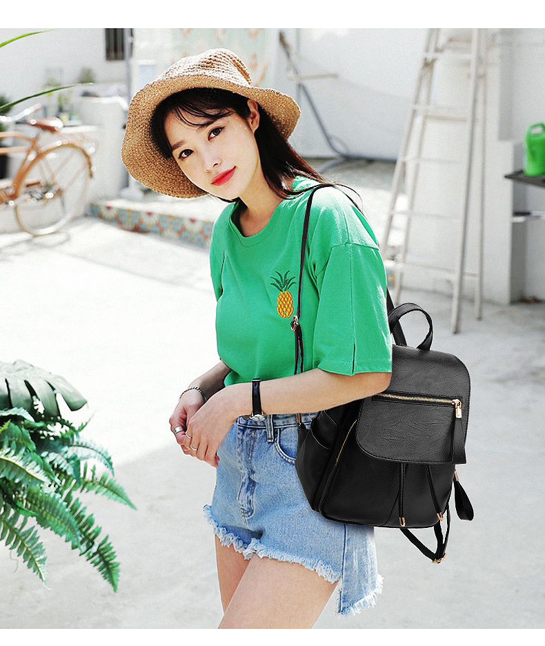 HTB1pB.MaovrK1RjSspcq6zzSXXah LIKETHIS Backpack In Women's Casual PU Leather Knapsack Travel Mochila Escolar Masculina Backpack Zainetto Donna Lady Solid New