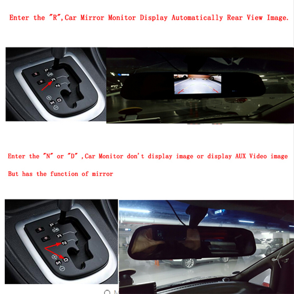 Image 5 - AMPrime 4.3 inch Car HD Rearview Mirror Monitor CCD Video Auto Parking Assistance LED Night Vision Reversing Rear View Camera-in Car Monitors from Automobiles & Motorcycles