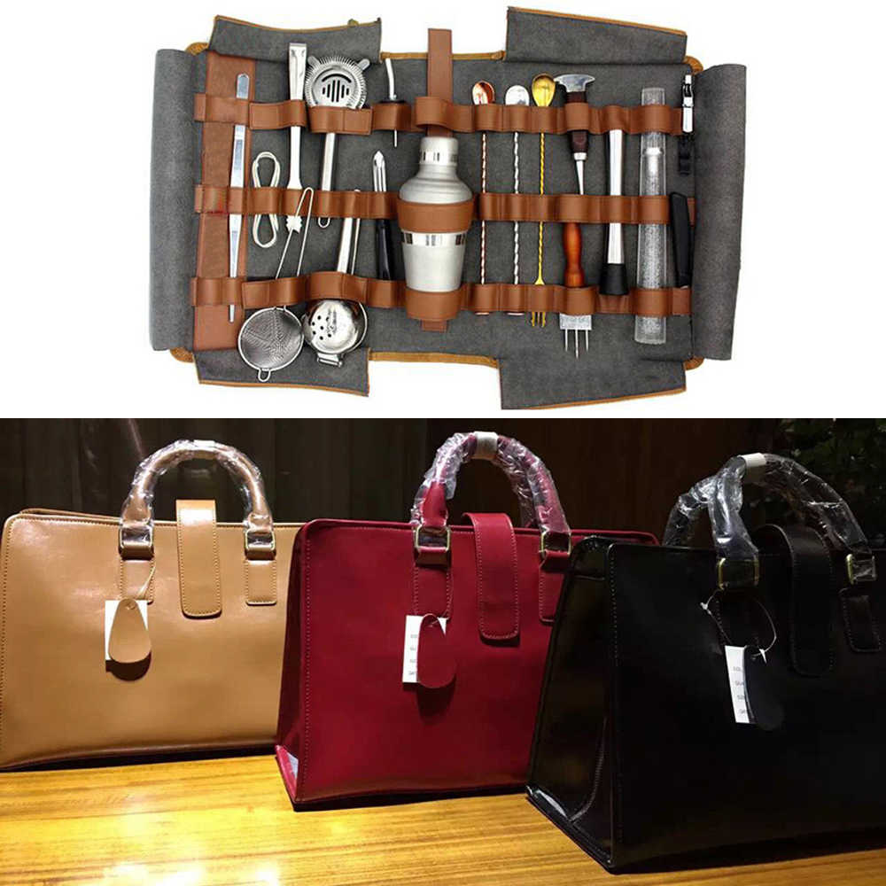 Set Bar Cocktail Kit Cuir Bag Bartender Sac ChdQsxrt