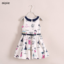 Brand Fashion Girl's Dresses European and American Style Print Cartoon Pattern Cotton 100% Girls Dresses For 3-8 Years girls dresses 2018 new european and american style spring pattern solid long sleeves blue girl dresses for 4 16 year ds580