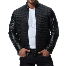 Spring Autumn Classic Men Motorcycle Leather Jackets Fashion Plaid PU Solid Outerwear Biker Jacket Coat Plus Size S-XXXL