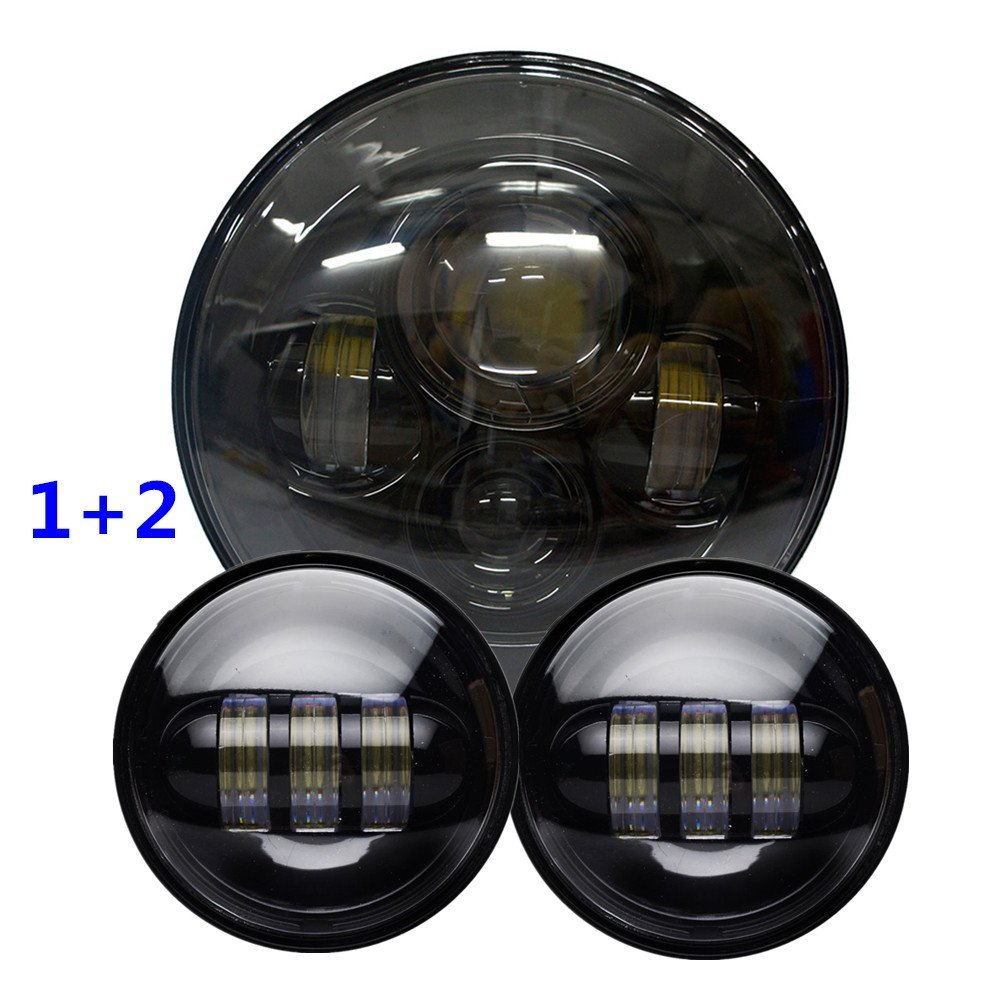 Black Harley Daymaker 7 LED Round Headlight with Matching Black 4.5 Inch Passing Lamps Fog Lights For Harley Davids Motorcycles