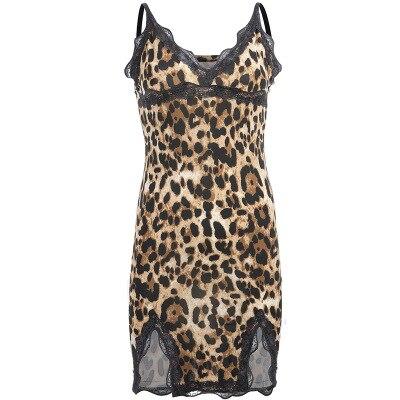 Daeyard Silk Satin Dress Women Sexy Leopard Lace Patchwork Nightgown Sleeveless Split Dress Sleepwear Slim Fit Dress Club Dress in Nightgowns Sleepshirts from Underwear Sleepwears