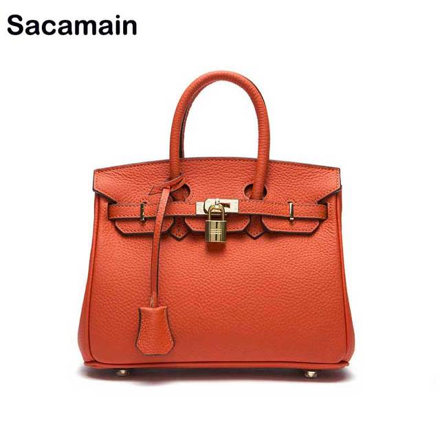 Sacamain Brand Top-handle Bags With Strap Genuine Leather Cowhide Classic Tote Bags Bolsos Mujer Women Leather Handbags Sac 2019