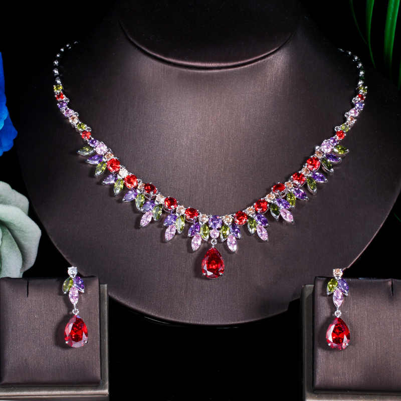 CWWZircons Multi Color African Cubic Zirconia Big Drop Bridal Wedding Party Costume Necklace Earring Jewelry Sets for Women T335