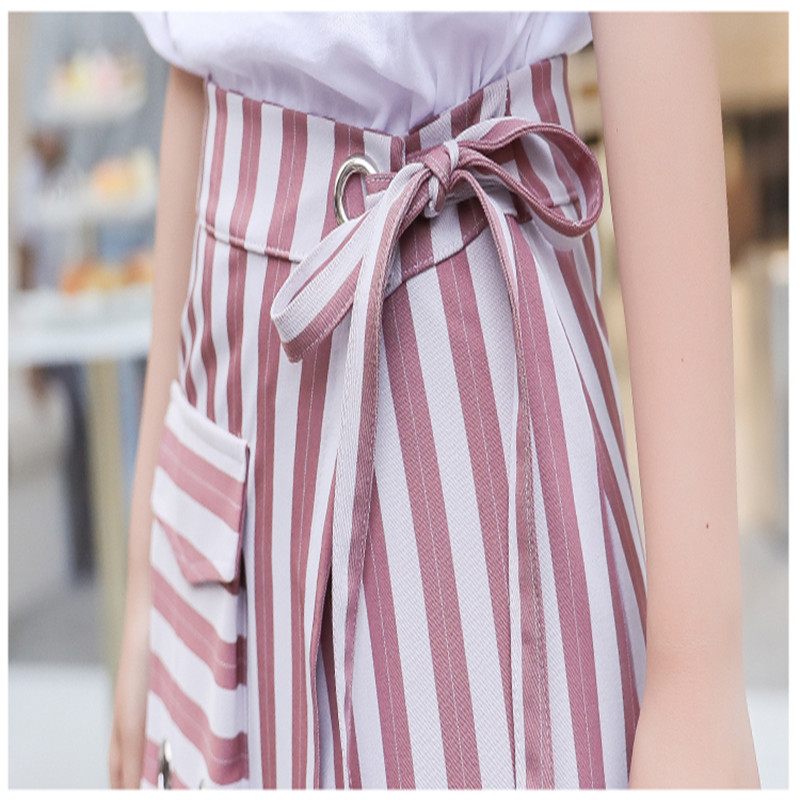SMTHMA 2019 New Fashion Summer Women's Letters Long T-shirt + Split Striped Two Piece Female Casual Skirt Suits 6