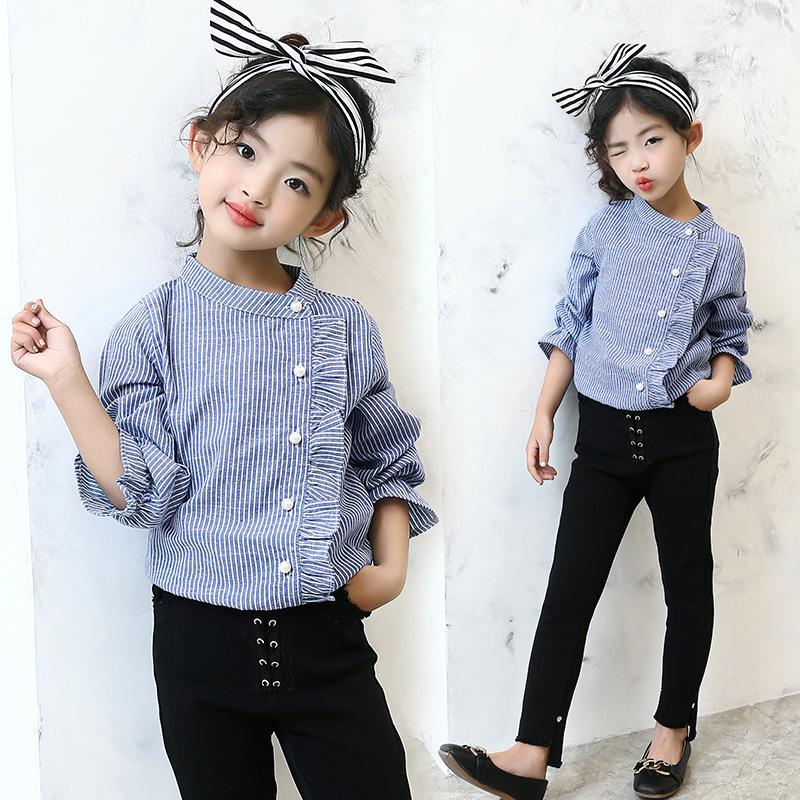 Little Big Girls Blouse School Clothing 2017 Autumn Spring -5259