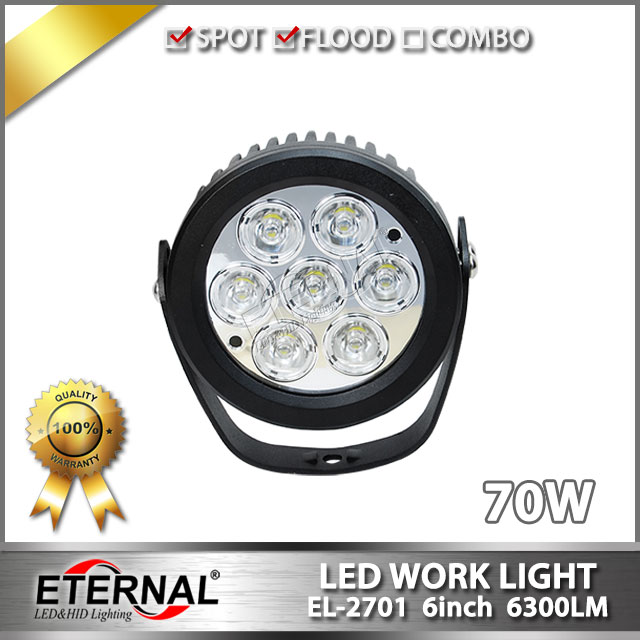 free shipping 2pcs-70W led driving light round off road work light high power work headlight for 4x4 powersports truck trailer