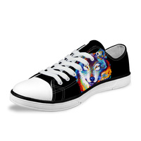 NOISYDESIGNS Women Low Style Casual Vulcanized Shoes 3D Cool Animal Wolf Print Women Canvas Shoes for lady flat Female Black