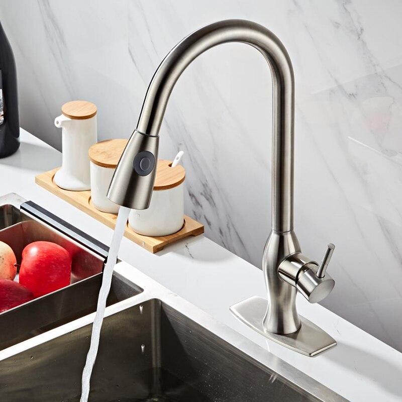 304 edelstahl Gebürstet Nickel Küche Wasserhahn Mischer Waschbecken Wasserhahn Heiße und Kalte Wasser Küche Wasserhahn mit Stream Sprayer Kopf