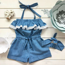 UK Kids Toddler Baby Girl Blue Strap Romper Jumpsuit Playsuit Sunsuit Clothes Set