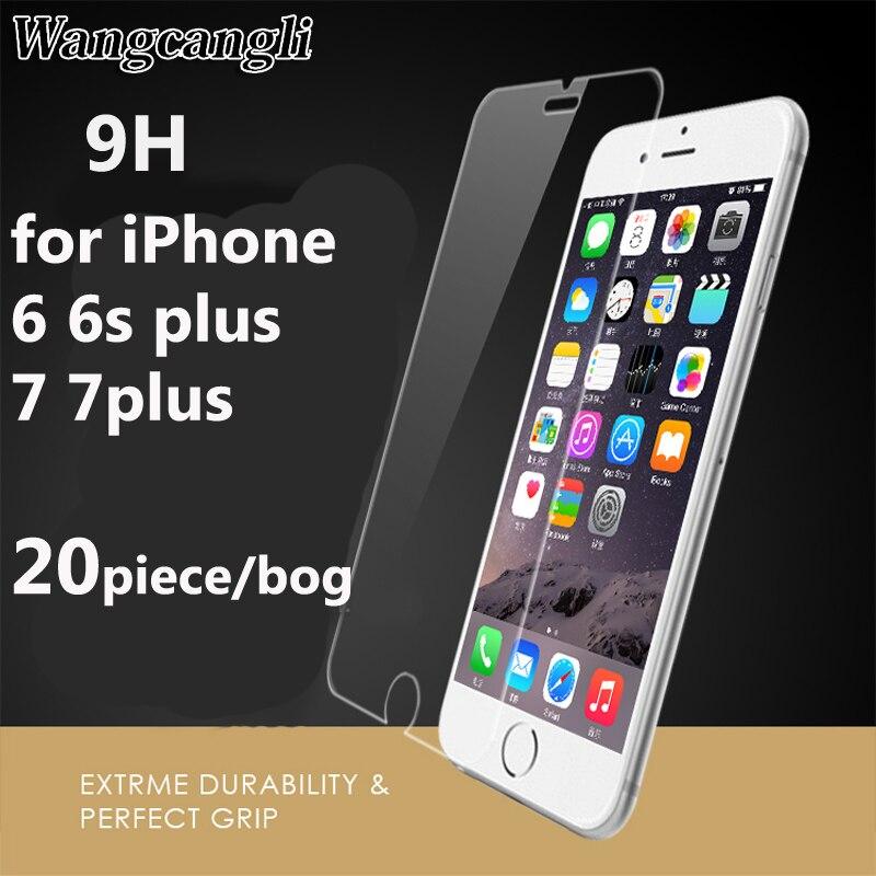 imágenes para Wangcangli 20 unidades 9 H 0.26mm para el iPhone 5 6 s 7 7 plus vidrio templado película protectora para el iPhone 6 más protección vidrio