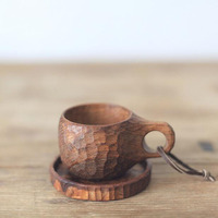 50ml Mini Espresso Coffee Cup Pure Hand made Wooden Teak Mug with Handle Burma Teak Coating Friendly Oil ZA5358