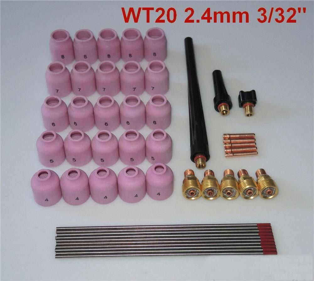 Free Shipping 48 pcs TIG Welding Kit Gas Lens for Tig Welding Torch WP-9 WP-20 WP-25 WT 3/32 сварочная горелка fortune 10 1 6 1 16 45v43 wp 9 wp 20 wp 25 wp 9 wp 20 wp 25