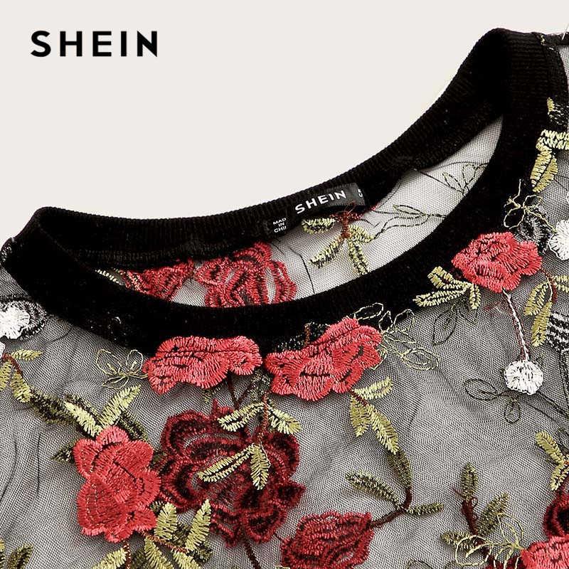 SHEIN Boho Multicolor Bloemen Borduren Sheer Mesh Sexy Crop Blouse Vrouwen Zomer Ronde Hals Korte Mouw Elegante Top Blouses