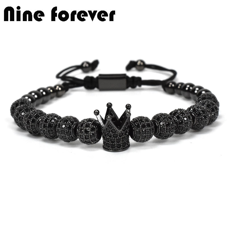 Nine forever crown charms Bracelet men jewelry Braiding Macrame beads Bracelets for women pulseira masculina feminina bileklik