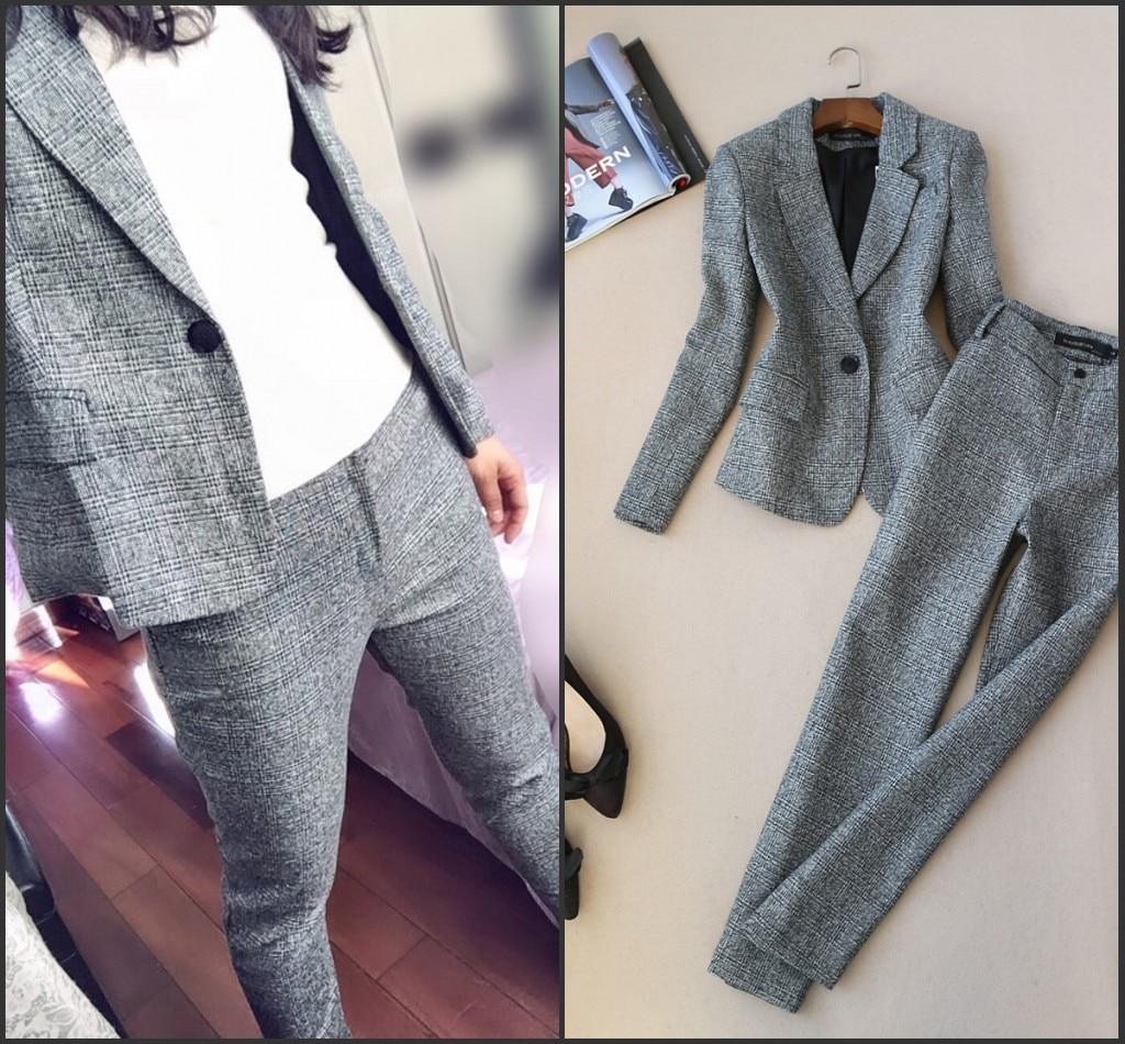 2018 nuevo Otoño Invierno mujer de manga larga de lana traje chaqueta + lápiz pantalones dos piezas señoras profesional pantalones de traje - 3