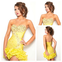 Sheath Ruffles and Beaded Short Yellow Formal Dresses Sweetheart Vestido De Festa Hot&Sexy Cocktail Party Dress Custom Made HC2